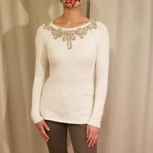 Free People Cream Knit Sweater Shirt
